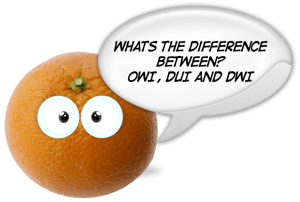 Difference between OWI, DUI and DWI