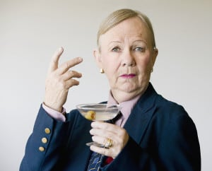 Dramatic Senior Woman With A Martini
